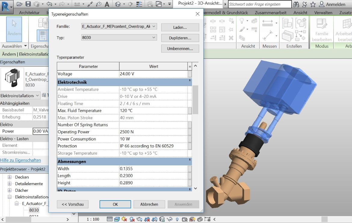 "Oventrop provides ""BIM product data"" in Revit- and VDI3805 format"